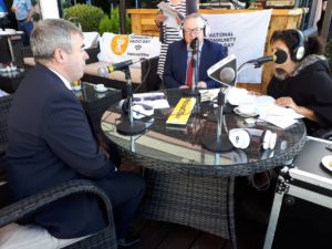 Catherine sitting in with Minister Kevin 'Boxer' Moran & Declan Gibbons