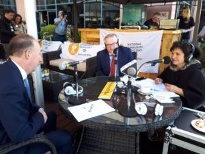 Catherine speaking with Declan Gibbons (Chairman of Craol) & Michael O'Keeffe (CEO of the BAI)