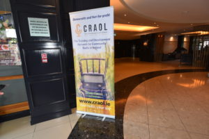 Craol Banner all set up for the Outside Broadcast in the Radisson Blu Hotel.