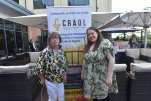 Ursula Ledwith (Director and volunteer ACR) & Claire Hall (ACR Chair Person) posing beside the Craol Banner.