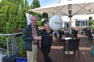 Tommy McCabe (Tullamore Community Radio) & Martina O'Brien proudly waving the Craol balloon